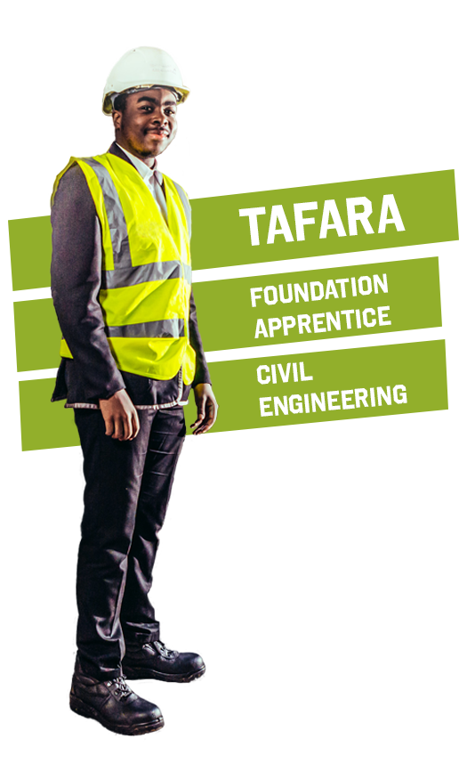 A male civil engineering foundation apprentice smiling and standing on site in a hard hat and hi-vis vest